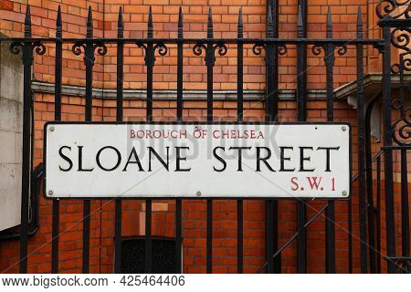 London, Uk - July 9, 2016: Sloane Street Sign In London, Uk. London Is The Most Populous City In The
