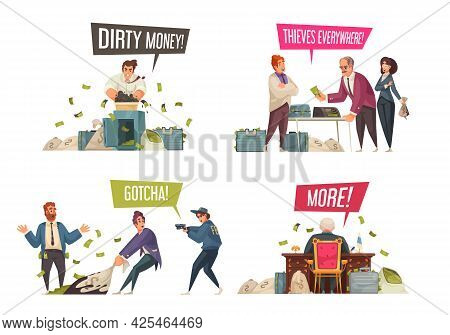 Dirty Money Gaining Laundering Illegal Activities Concept 4 Funny Cartoon Compositions With Theft Co