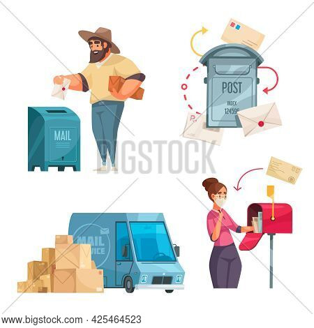 Post Office 4 Cartoon Compositions Dropping Letter In Mailbox Postal Service Vehicle American Style