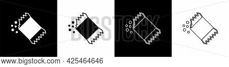 Set Packet Of Pepper Icon Isolated On Black And White Background. Vector