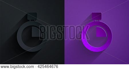 Paper Cut Stopwatch Icon Isolated On Black On Purple Background. Time Timer Sign. Chronometer Sign.