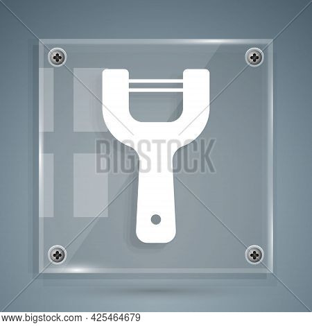 White Vegetable Peeler Icon Isolated On Grey Background. Knife For Cleaning Of Vegetables. Kitchen I