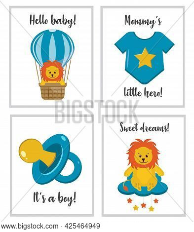 Cute Posters With Little Lion Cub, Baby Bodysuit, Pacifier Dummy. Vector Prints For Baby Room, Baby
