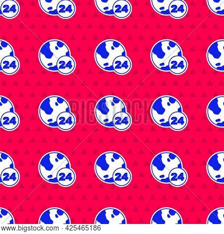 Blue Telephone 24 Hours Support Icon Isolated Seamless Pattern On Red Background. All-day Customer S