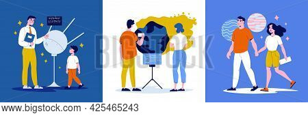 Planetarium Design Concept Set Of Three Square Color Icons With Adults And Children View Exhibits Ve