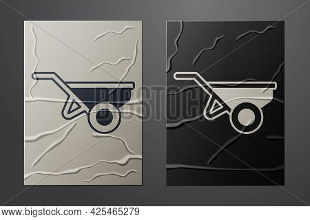 White Wheelbarrow With Dirt Icon Isolated On Crumpled Paper Background. Tool Equipment. Agriculture
