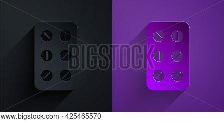 Paper Cut Pills In Blister Pack Icon Isolated On Black On Purple Background. Medical Drug Package Fo