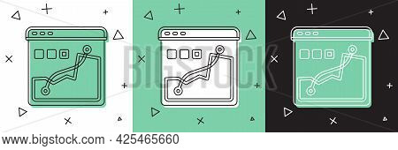 Set Histogram Graph Photography Icon Isolated On White And Green, Black Background. Vector