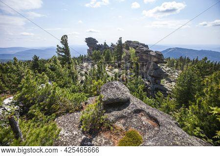 View From The Remnants Pillars On Mount Zelenaya. Sheregesh, Russia
