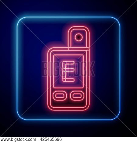 Glowing Neon Light Meter Icon Isolated On Black Background. Hand Luxmeter. Exposure Meter - A Device