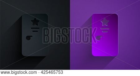 Paper Cut Backstage Icon Isolated On Black On Purple Background. Door With A Star Sign. Dressing Up