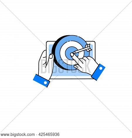 Target With Purpose And Dart In Tablet. Aim Shooting And Purposefulness. Gadget In Hand. Outline Car