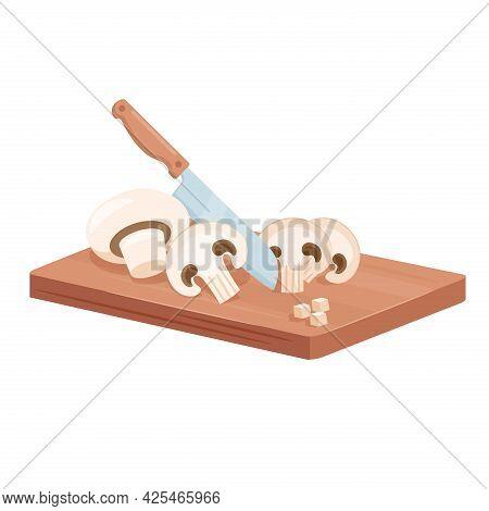 Cut Mushroom Champignon Slices With Knife, Isometric Raw Mushroom On Wooden Cutting Board