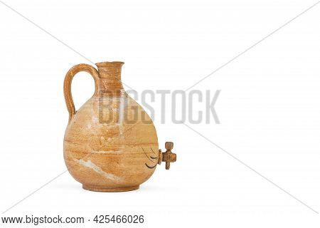 Earthenware Pitcher On A White Background With Copy Space