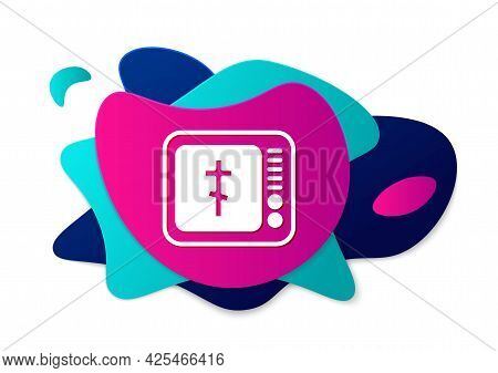 Color Online Church Pastor Preaching Video Streaming Icon Isolated On White Background. Online Churc