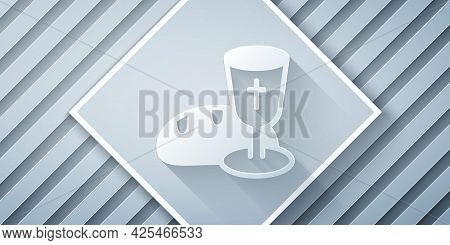 Paper Cut Goblet And Bread Icon Isolated On Grey Background. Bread And Wine Cup. Holy Communion Sign