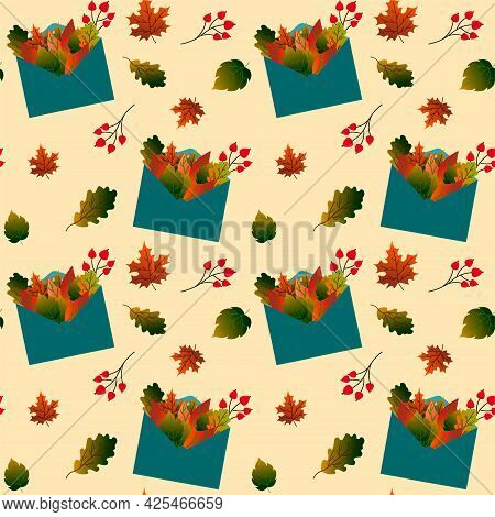 Pattern With Postal Envelope And Autumn Leaves. Vector Illustration. For Use In Prints, Packaging, S