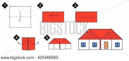 Step By Step How To Make Origami House. Vector Blzck Line Color Instructions Illustration. Home Diy.