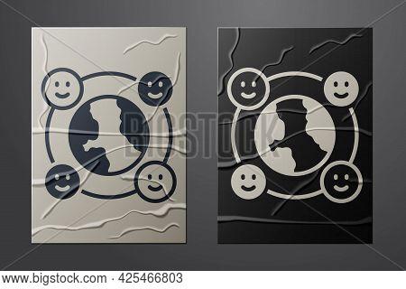 White International Community Icon Isolated On Crumpled Paper Background. Worldwide Community. Cross