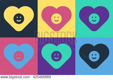 Pop Art Good Relationship Icon Isolated On Color Background. Romantic Relationship Or Pleasant Meeti