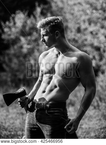 Last Man On Planet. Muscular Body. Handsome Shirtless Man Muscular Body. Bodybuilding Sport Concept.