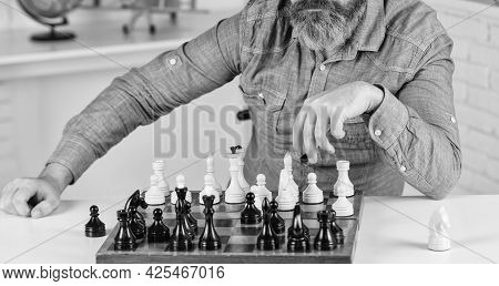 Playing Chess. Intellectual Hobby. Figures On Wooden Chess Board. Learning Play Chess. Chess Lesson.