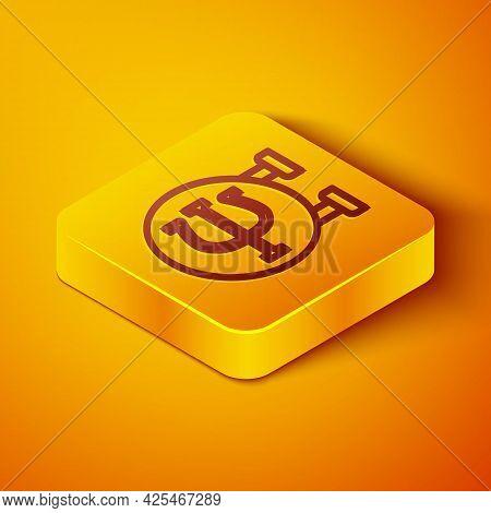 Isometric Line Psychology Icon Isolated On Orange Background. Psi Symbol. Mental Health Concept, Psy