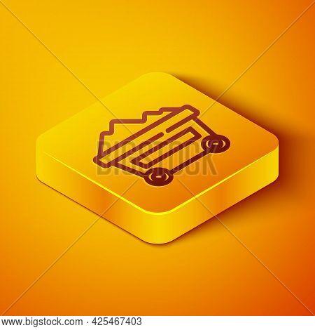 Isometric Line Coal Mine Trolley Icon Isolated On Orange Background. Factory Coal Mine Trolley. Yell