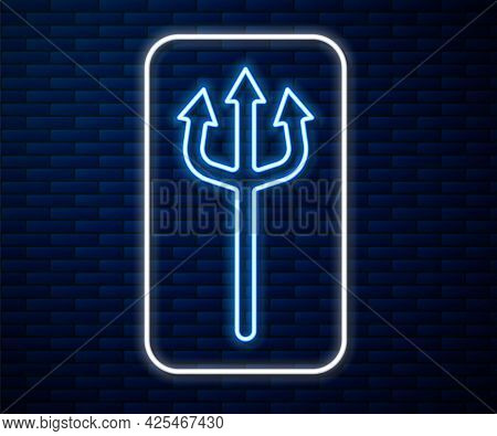 Glowing Neon Line Neptune Trident Icon Isolated On Brick Wall Background. Happy Halloween Party. Vec