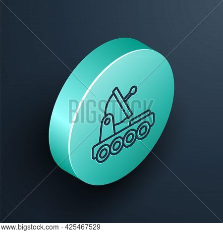 Isometric Line Mars Rover Icon Isolated On Black Background. Space Rover. Moonwalker Sign. Apparatus