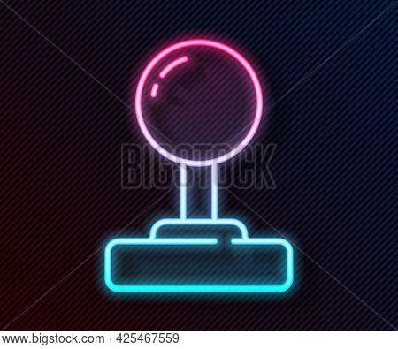Glowing Neon Line Joystick For Arcade Machine Icon Isolated On Black Background. Joystick Gamepad. V
