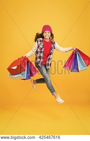 Energetic Little Shopper Hurry To Sale Holding Shopping Bags Yellow Background, Shop