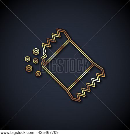 Gold Line Packet Of Pepper Icon Isolated On Black Background. Vector