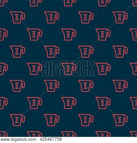 Red Line Measuring Cup To Measure Dry And Liquid Food Icon Isolated Seamless Pattern On Black Backgr