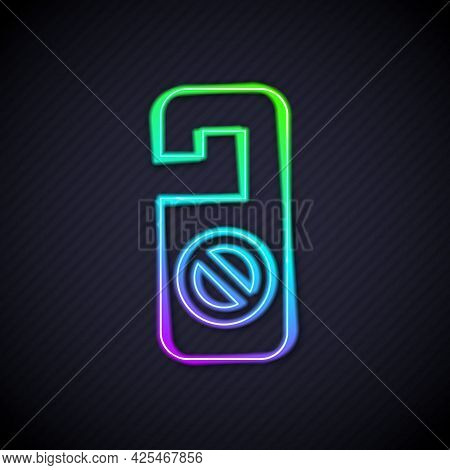 Glowing Neon Line Please Do Not Disturb Icon Isolated On Black Background. Hotel Door Hanger Tags. V