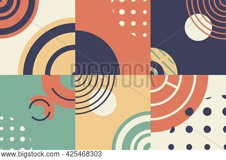 Vector Abstract Horizontal Background. Bright Geometric Shapes And Forms. Retro Styled Layout Or Tem