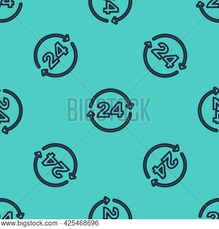 Black Line Telephone 24 Hours Support Icon Isolated Seamless Pattern On Green Background. All-day Cu