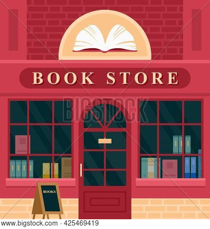 City Building Vintage Book Store Facade Vector Illustration. Cartoon House Exterior With Entrance Bo