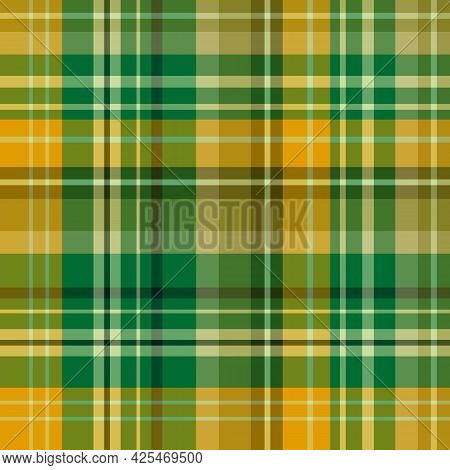 Seamless Pattern In Warm Yellow And Green Colors For Plaid, Fabric, Textile, Clothes, Tablecloth And
