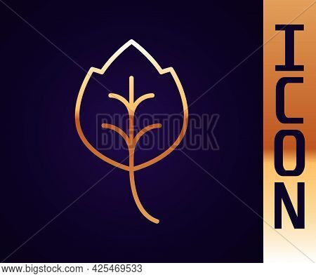 Gold Line Leaf Icon Isolated Gold Line Background. Leaves Sign. Fresh Natural Product Symbol. Vector