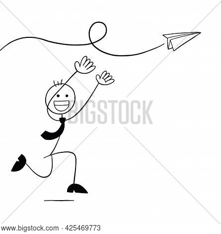 Stickman Businessman Character Trying To Catch The Paper Plane, Vector Cartoon Illustration. Black O