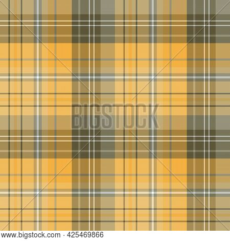 Seamless Pattern In Yellow And Grey Colors For Plaid, Fabric, Textile, Clothes, Tablecloth And Other