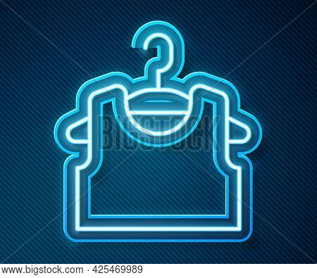 Glowing Neon Line Sleeveless T-shirt Icon Isolated On Blue Background. Vector