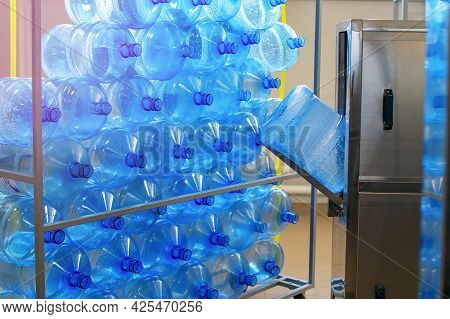 Drinking Water Plant And Equipment For The Purification And Processing Of Plastic. Stand Filled With