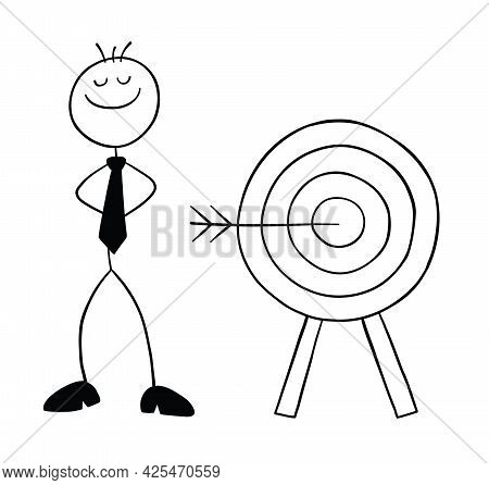 Stickman Businessman Character Hits The Target Of Bulls Eye And Proud, Vector Cartoon Illustration.