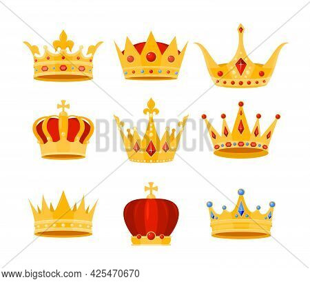 Golden Crown Vector Illustration Set, Cartoon Flat Gold Royal Medieval Collection Of Luxury Monarch