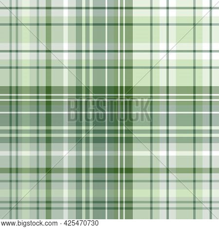 Seamless Pattern In Green And White Colors For Plaid, Fabric, Textile, Clothes, Tablecloth And Other