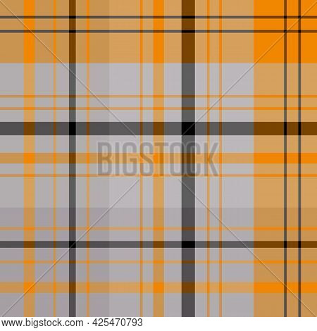 Seamless Pattern In Gray, Orange And Black Colors For Plaid, Fabric, Textile, Clothes, Tablecloth An