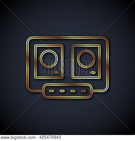 Gold Line Dj Remote For Playing And Mixing Music Icon Isolated On Black Background. Dj Mixer Complet