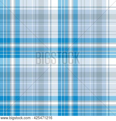 Seamless Pattern In Blue, White And Gray Colors For Plaid, Fabric, Textile, Clothes, Tablecloth And